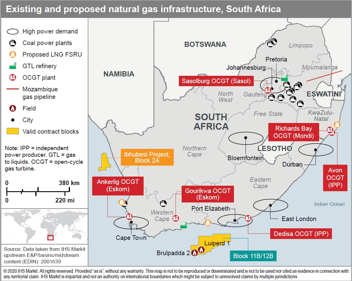 Existing and proposed natural gas infrastructure, South Africa