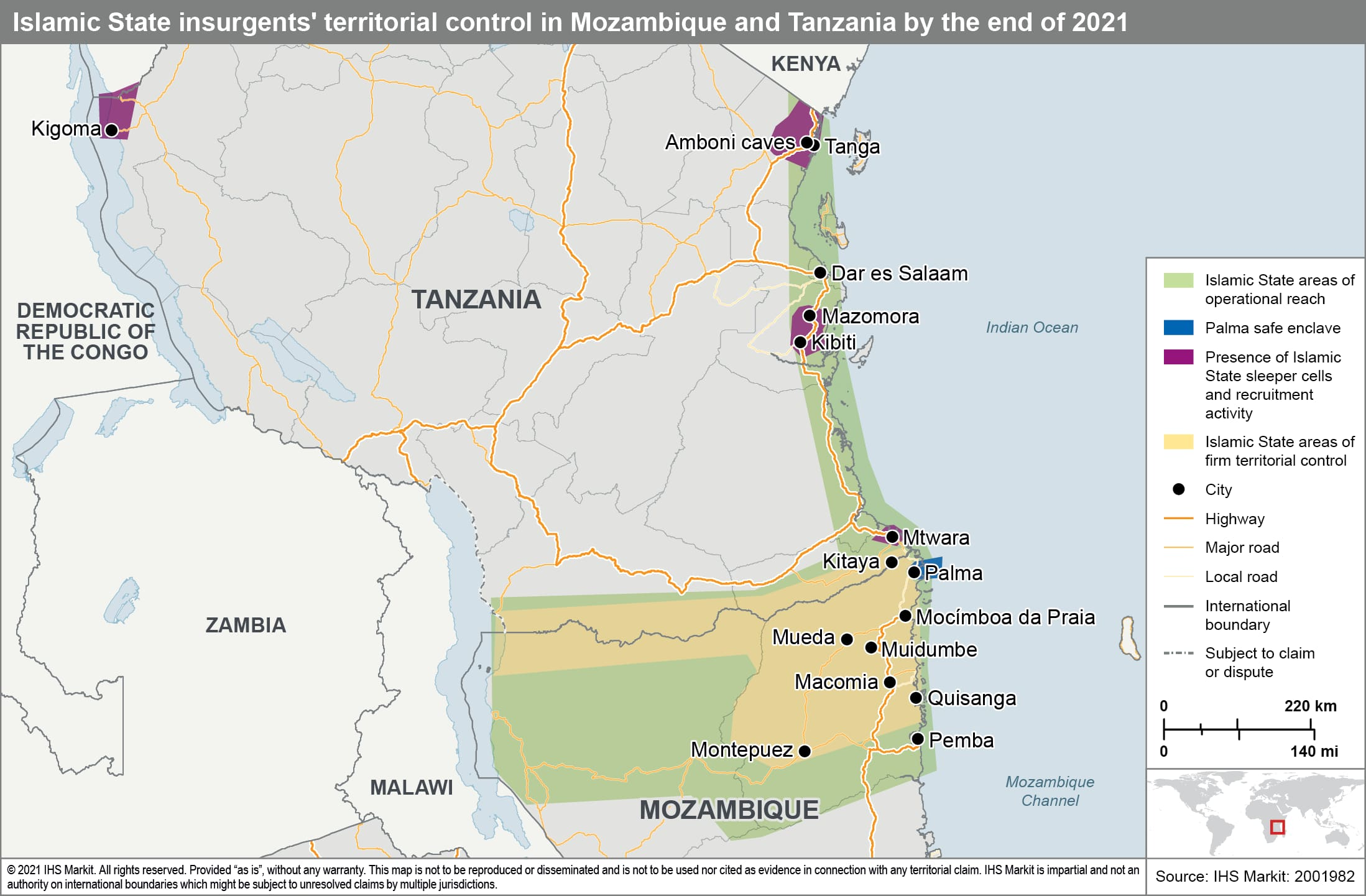 Islamic State insurgents territorial control in Mozambique and Tanzania by the end of 2021
