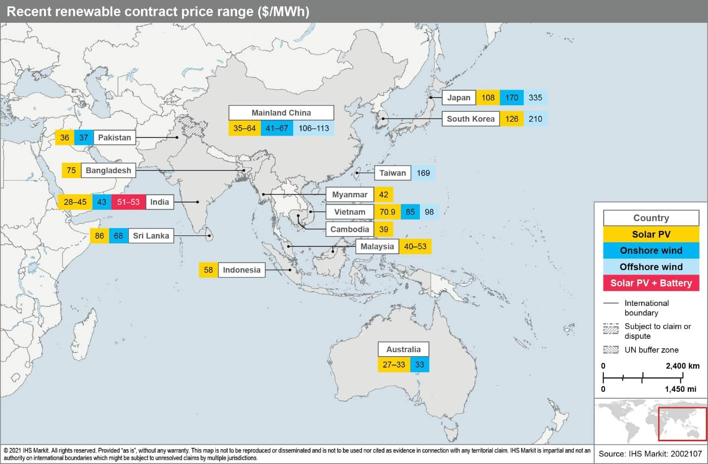 Recent renewable contract price range ($/MWh)