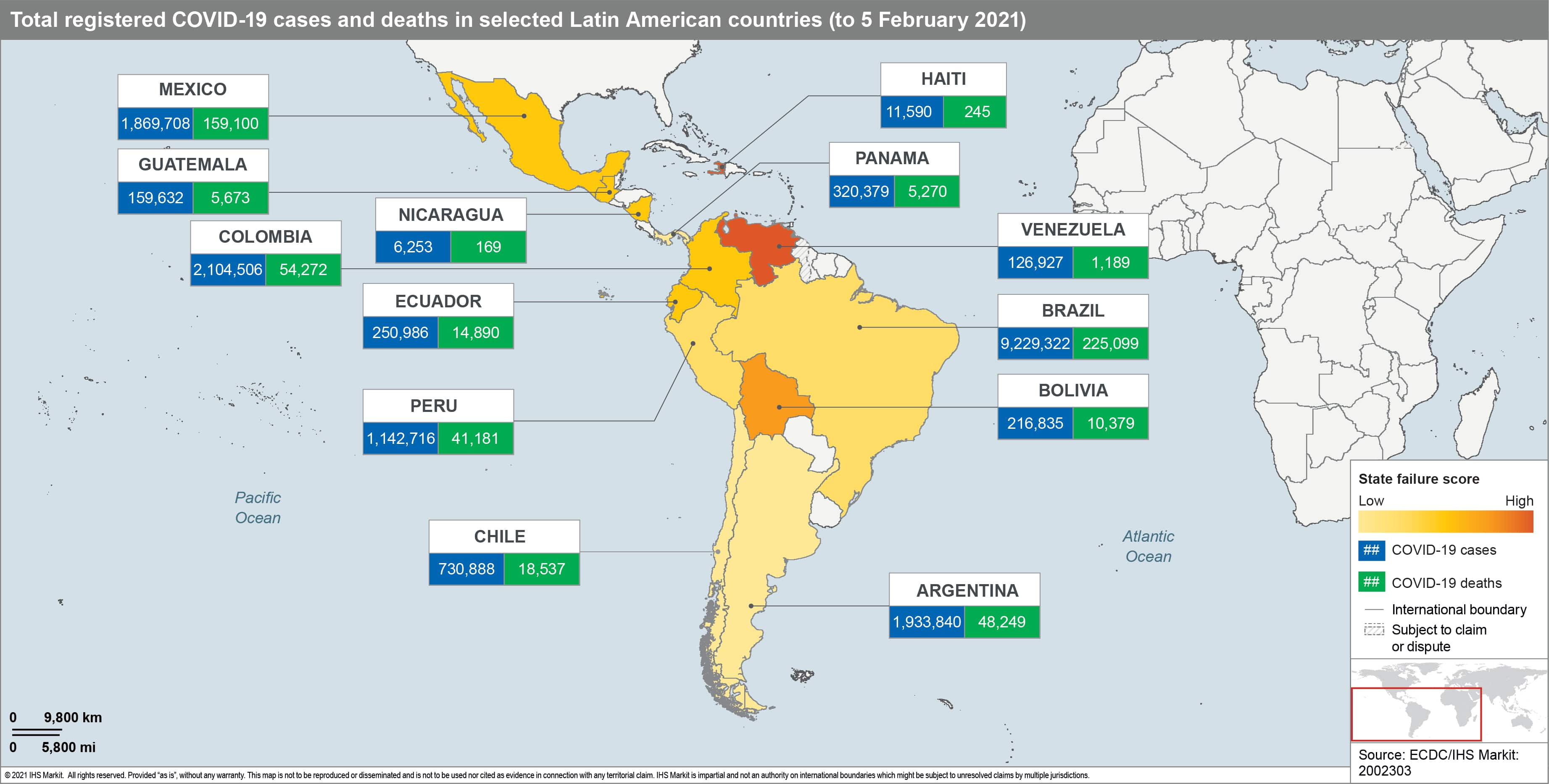 Latin America vaccine roll out map 2021