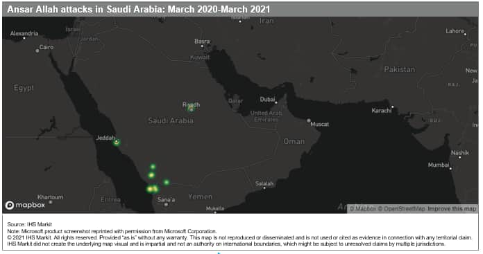 Ansar Allah attacks in Saudi Arabia March 2020 through March 2021