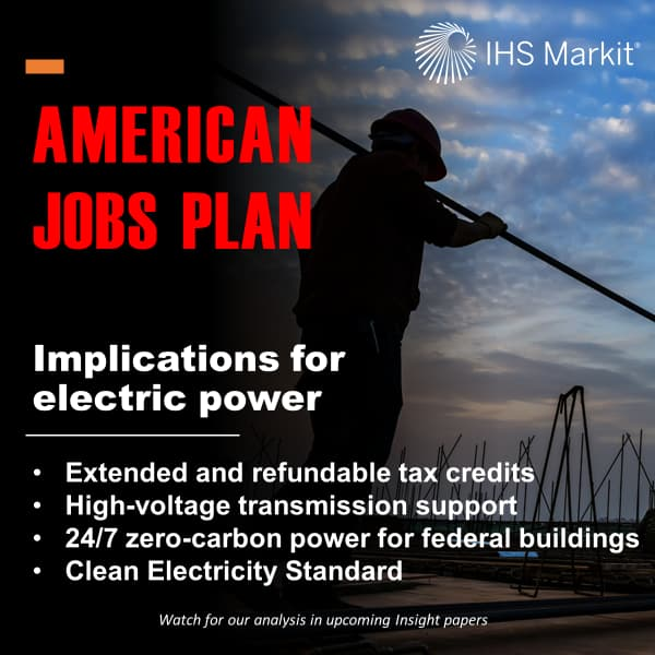 American jobs plan; implications for electric power