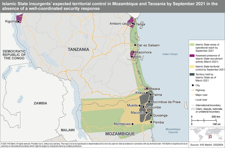 Islamic State territorial controle mozambique and tanzania 2021