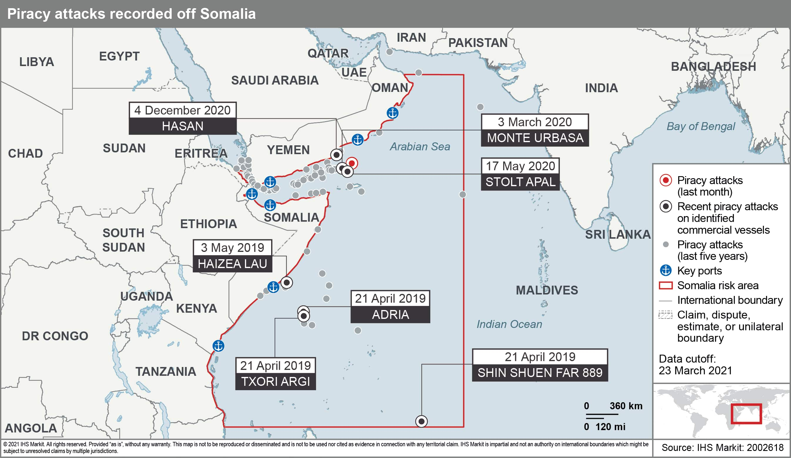 Piracy attack routes somalia
