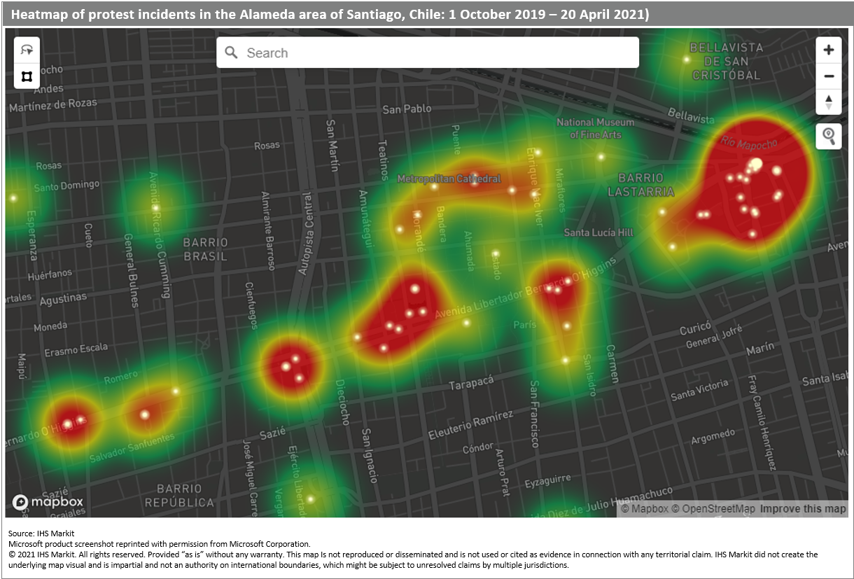 Heatmap of protest incidents in Alameda area in Santiago Chile October 2019 to April 2021