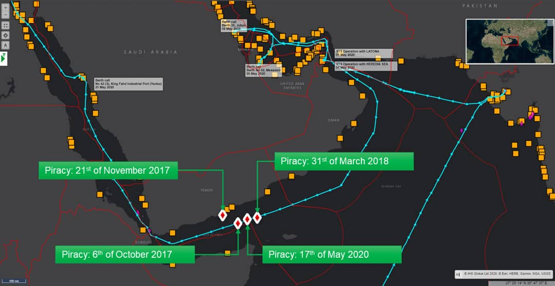 Piracy in the Gulf of Aden over the last 36 Months