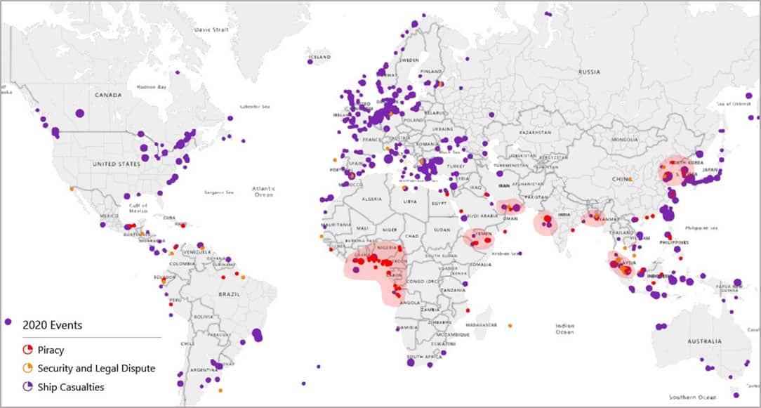Global Piracy, Security/Legal Disputes & Ship Causalities event distribution