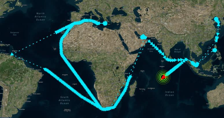 Potentially suspicious oil tanker movement history
