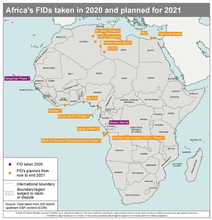 Africa's FIDs taken in 2020 2021